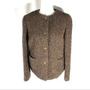 Anne Klein II Brown Boucle Boxy Jacket/Blazer